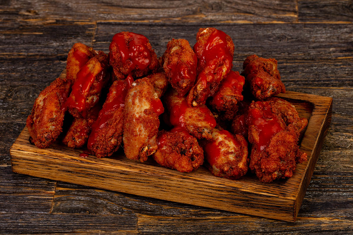 BBQ chicken wings Lousiana sauce  A